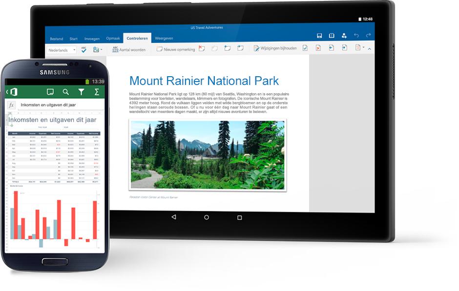 Een telefoon met een Excel-diagram en een tablet met een Word-document over Mount Rainier National Park