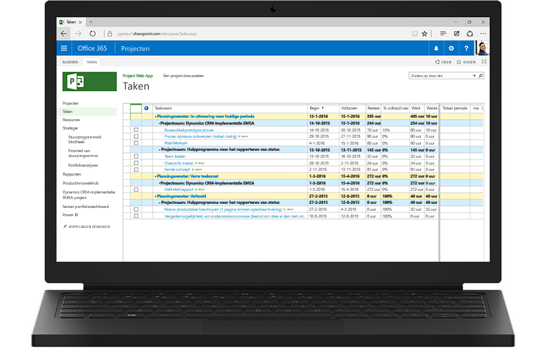 Een laptopcomputer met op het scherm een weergave van een Project-takenlijst in Office 365.