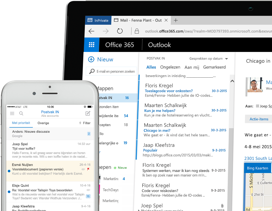 Exchange 2016 op een smartphone en een Windows-tablet