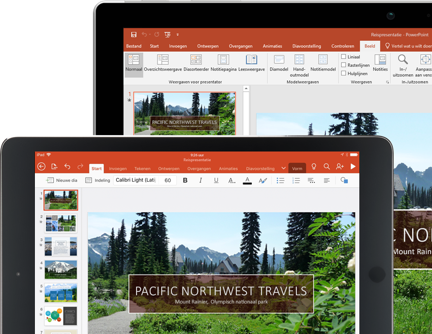 Een tablet en een laptop met een PowerPoint-presentatie over Pacific Northwest Travels