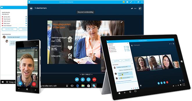 Een chatvenster in Skype voor Bedrijven naast een computer, tablet en telefoon met Skype voor Bedrijven