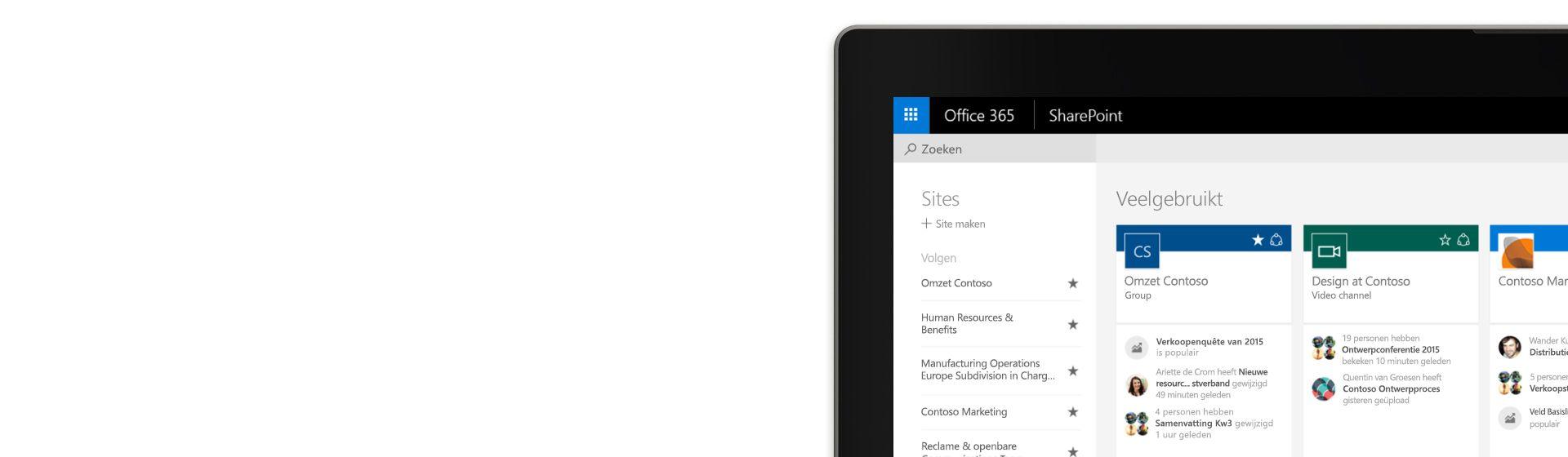 De hoek van een laptopscherm met Office 365 SharePoint voor Contoso