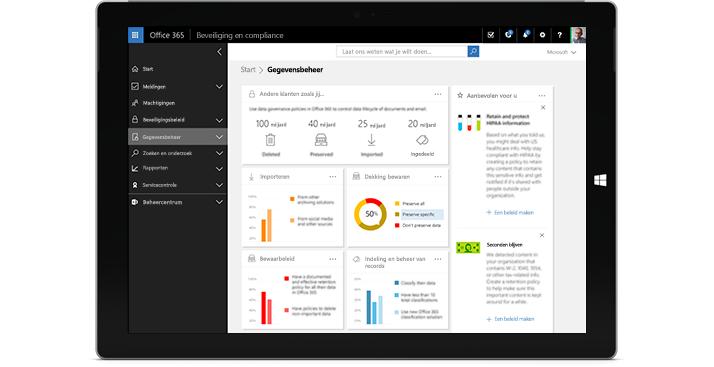 Een tablet waarop de functies voor gegevensbeheer in Office 365 worden weergegeven