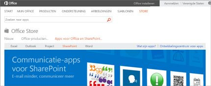 Schermafbeelding van de pagina SharePoint-apps in Office Store.