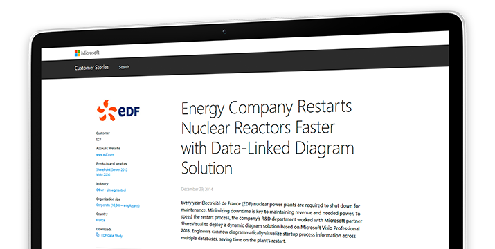 Een computerscherm met een casestudy over hoe een energiebedrijf kernreactoren sneller opnieuw opstart met behulp van een aan gegevens gekoppelde diagramoplossing