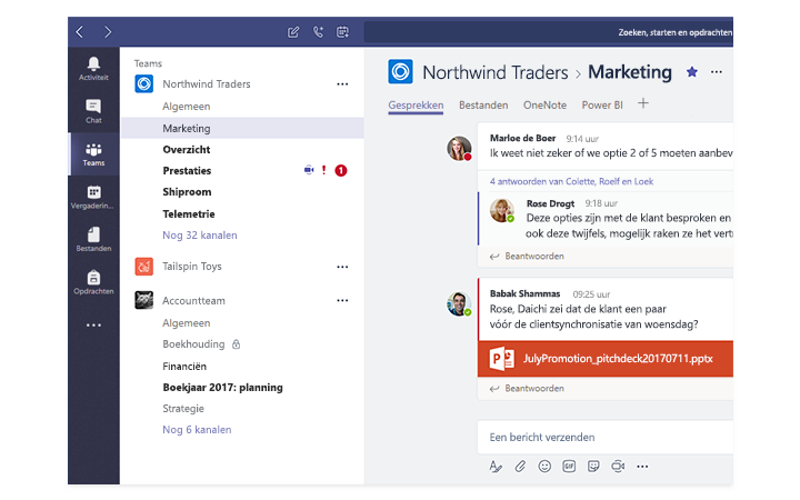 Een tablet met Microsoft Teams