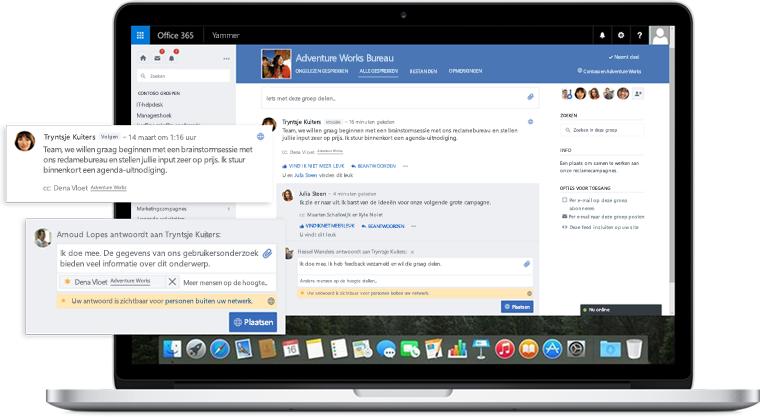 Een laptopscherm met een gesprek met collega's en externe partners in Yammer