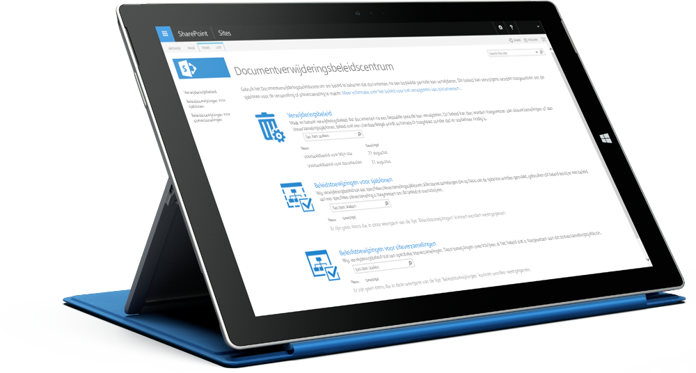 Surface-tablet waarop het SharePoint-compliancebeleidscenter is weergegeven, meer informatie over SharePoint Server 2016 op Microsoft TechNet
