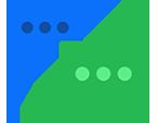 Twee tekstballonnen met drie puntjes erin die Yammer-gesprekken aangeven.