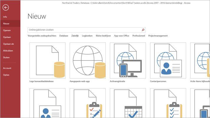 Het scherm Nieuwe database in Microsoft Access