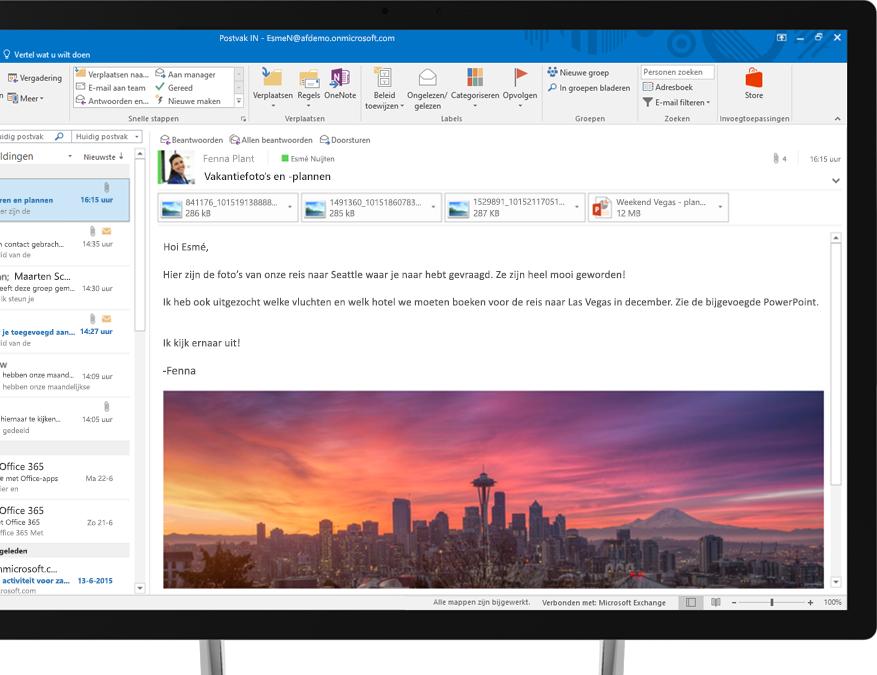 Een Office 365-e-mailbericht met een ingesloten afbeelding van de skyline van Seattle