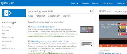 Schermafbeelding van een pagina Personen in SharePoint, waar u eenvoudig contact kunt maken.
