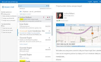 Close-up van het postvak IN van een gebruiker in Outlook Web App, mogelijk gemaakt door Exchange.