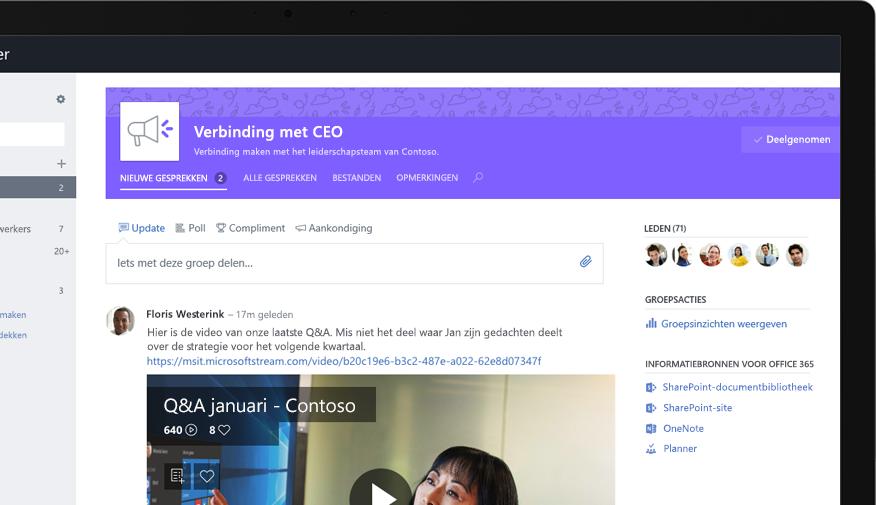 Yammer op een tablet waarop een leidinggevende een video deelt van een bijeenkomst met het hele bedrijf