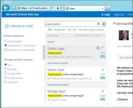 Close-up van het postvak IN van een gebruiker in Outlook Web App.
