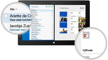 Een tablet met een Postvak IN en opgeslagen bestanden, met een close-up van berichten en documenten.