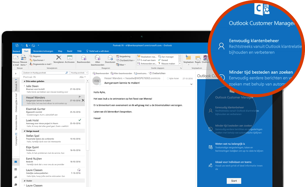 Computerscherm met een ingezoomd gedeelte van Outlook Customer manager in Outlook