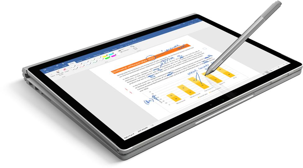 Een tablet met een document met handschrift op het scherm