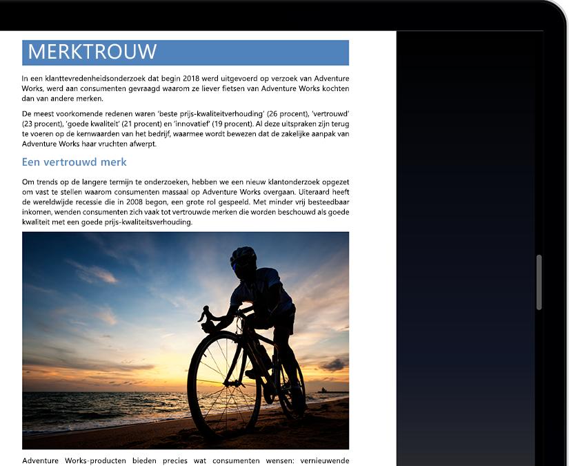 Een tablet- of laptopscherm met de focusmodus in Microsoft Word