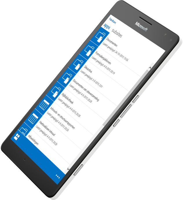 Een mobiel apparaat met een voorbeeld van hoe met SharePoint informatie onderweg kan worden geraadpleegd