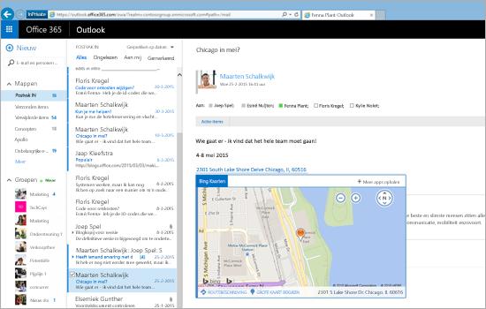 Close-up van het Postvak IN van een gebruiker in de webversie van Outlook, mogelijk gemaakt door Exchange.