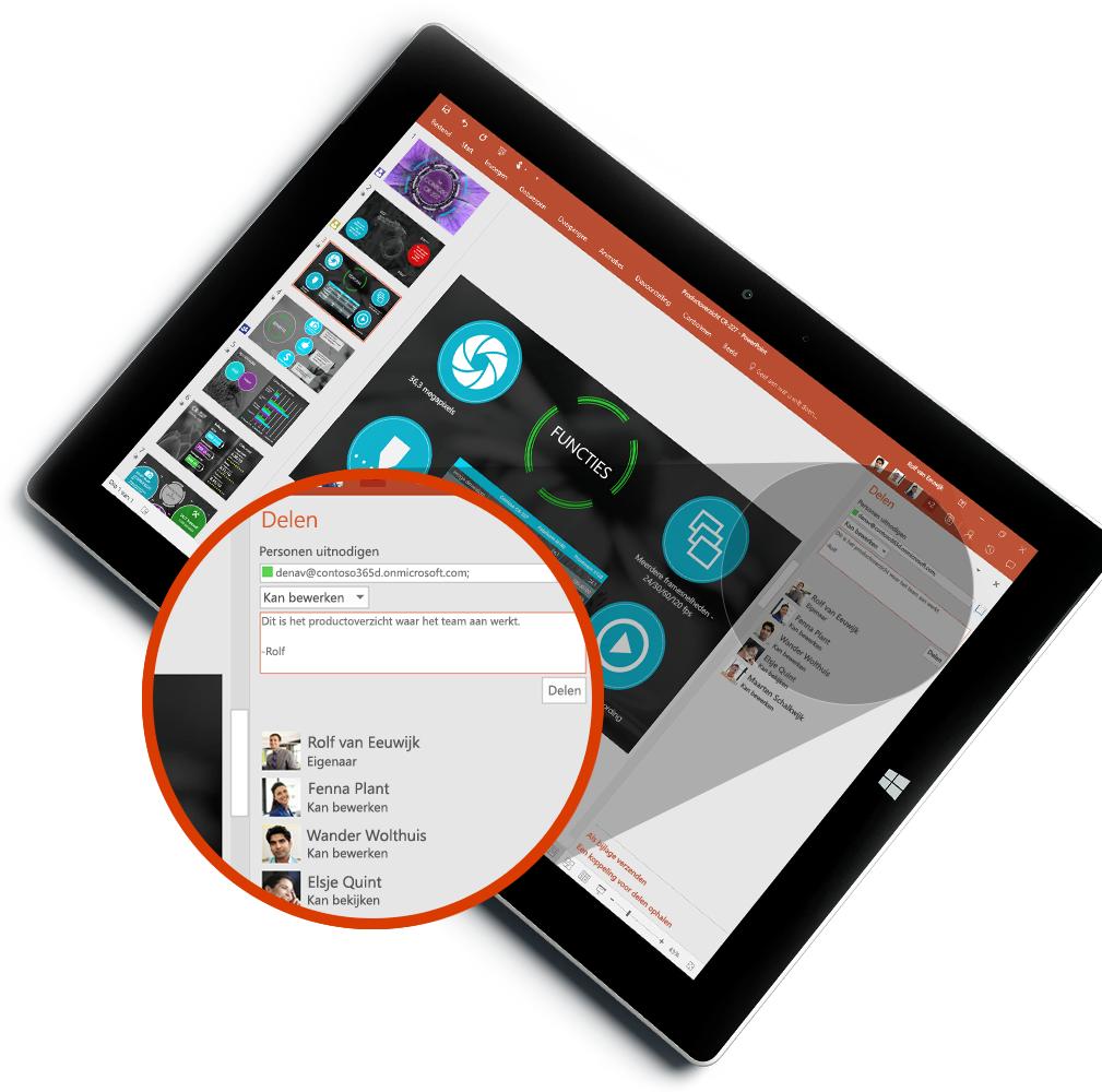 Tablet waarop het nieuwe deelvenster Delen en de hub Personen te zien zijn, meer informatie over het bijvoegen van bestanden in e-mail in Outlook