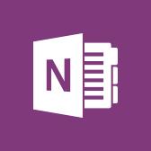 Microsoft OneNote-logo, lees meer over de mobiele app van OneNote op pagina