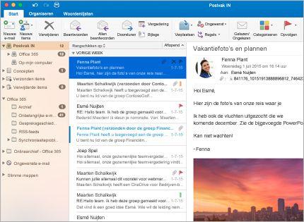 Een schermafbeelding van een postvak in Microsoft Outlook 2013 met een lijst met berichten en een voorbeeld.