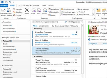 Schermafbeelding van een Microsoft Outlook 2013-postvak met berichtenlijst en voorbeeldweergave.