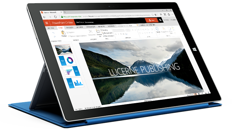 Een Surface-tablet waarop een presentatie in PowerPoint Online te zien is.