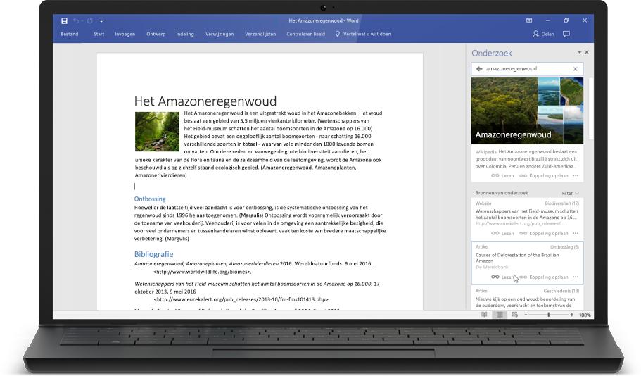 Een laptop met een Word-document en Onderzoek