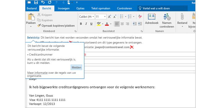 Close-up van een e-mailbericht met een beleidstip om het verzenden van vertrouwelijke gegevens te voorkomen.