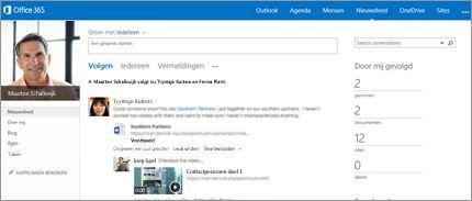 Schermafbeelding van een SharePoint-nieuwsfeed met de optie Delen met iedereen.