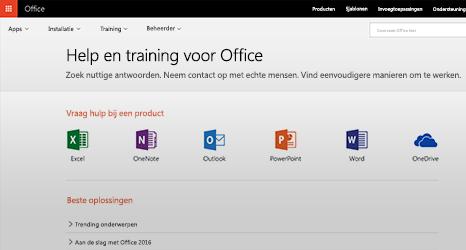 Schermafbeelding van Help en training voor Office 365