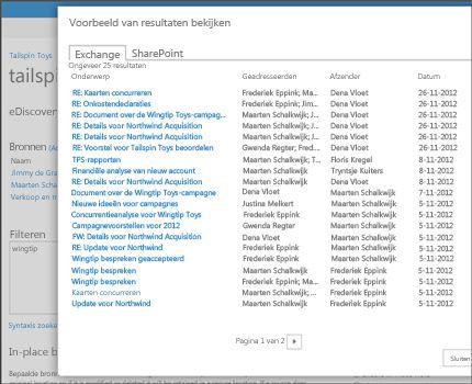Close-up van pagina met voorbeeldresultaten van een zoekopdracht in Exchange Online.