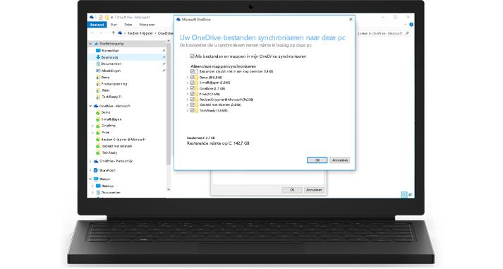 Een laptop met een close-up van de synchronisatiefunctie van OneDrive voor Bedrijven