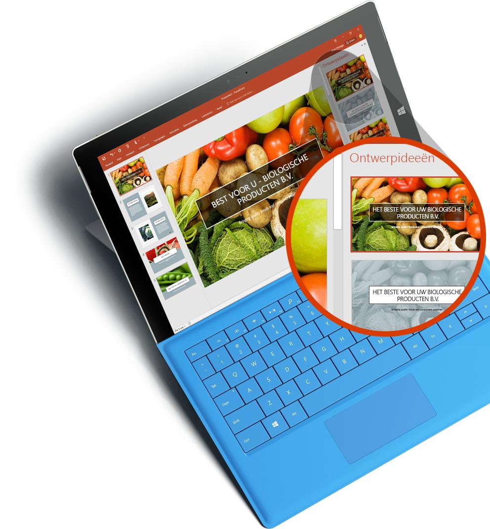 Surface-tablet met een ingezoomd scherm waarop PowerPoint Designer wordt weergegeven