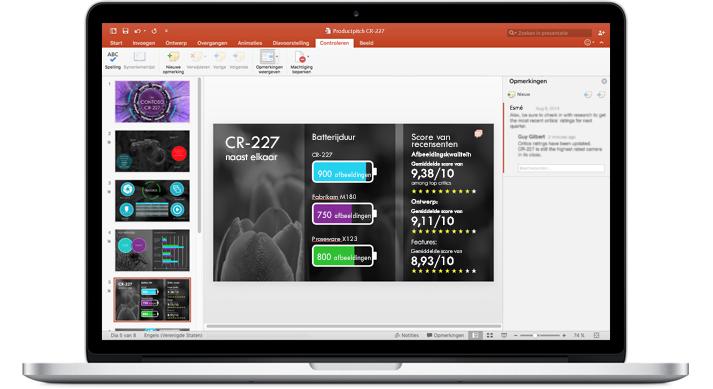 Een laptop met dia's van een PowerPoint-presentatie waaraan een team heeft samengewerkt.