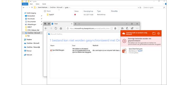 Een e-mailbericht met een melding van een beheerder en een venster met beleid voor veilige bijlagen.