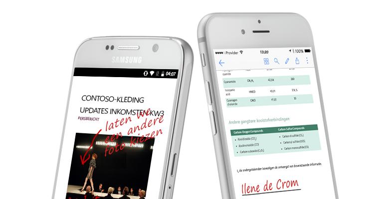 twee smartphones met documenten en handgeschreven notities over de documenten