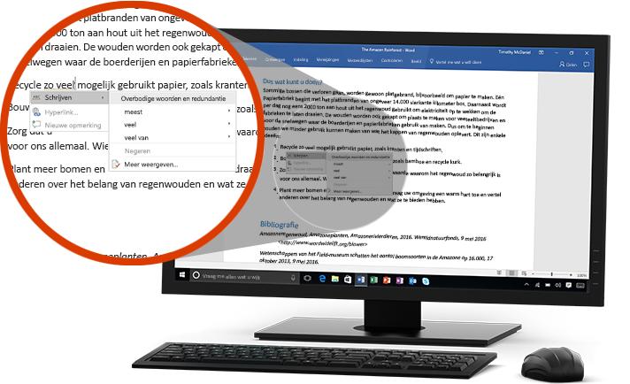 Een pc-beeldscherm met een Word-document en een close-up van de Schrijfassistent die wijziging van een woord in een zin voorstelt