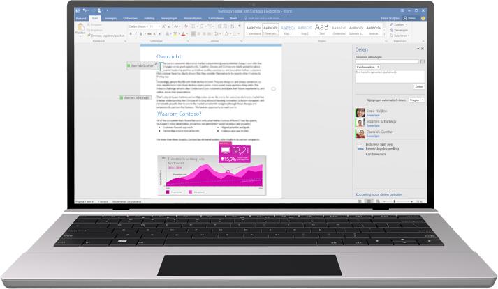 Samenwerken is nog gemakkelijker geworden: een laptop met een Word-document op het scherm waarin wordt gewerkt met cocreatie.
