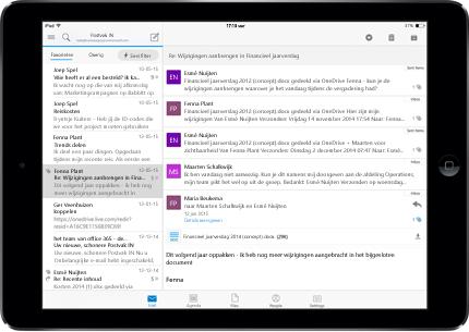 Een tablet met een reclamevrij Postvak IN met Office 365.