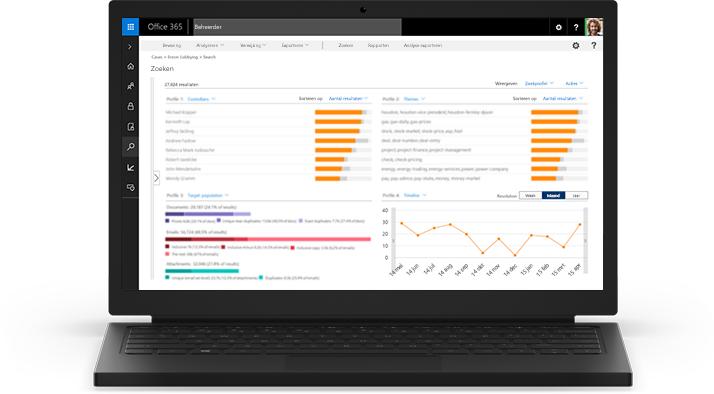Een laptop waarop eDiscovery in Office 365 wordt weergegeven