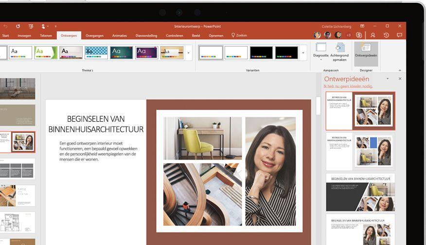 PowerPoint-presentatie op een apparaat