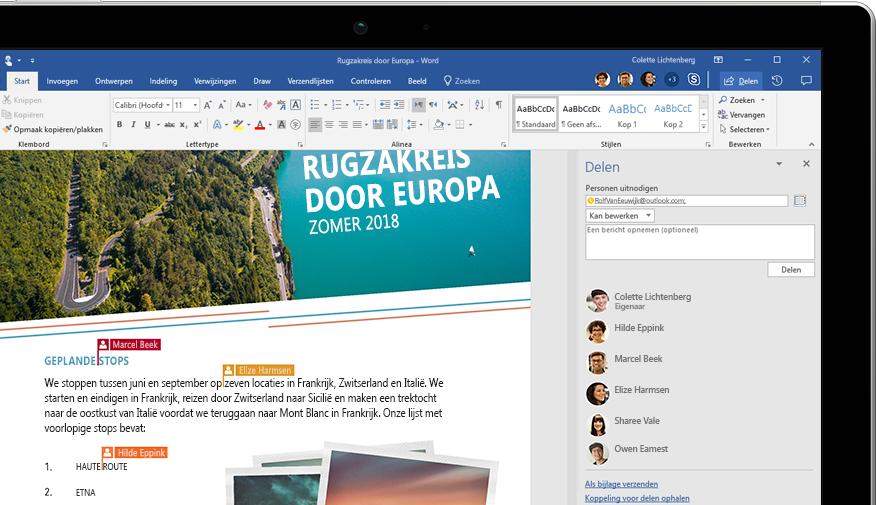Word-functionaliteit voor delen wordt weergegeven op een laptop