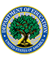 Logo van Department of Education, meer informatie over naleving met de Family Educational Rights and Privacy Act