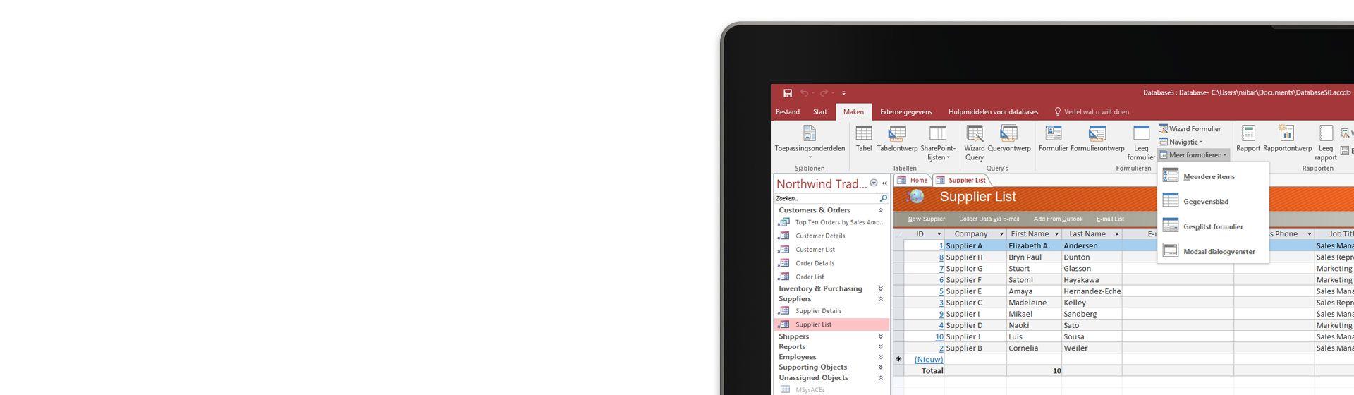 In de hoek van een computerscherm wordt een lijst met leveranciers in een database in Microsoft Access weergegeven.