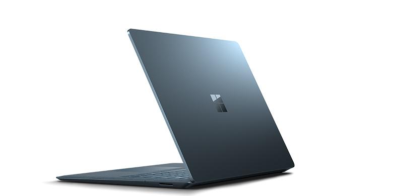Achteraanzicht van Surface Laptop-staal in blauw