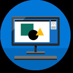 Computerpictogram met bedrijfssoftware
